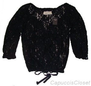 ABERCROMBIE & FITCH TAYLOR NAVY BLUE PRETTY LACE BLOUSE SHIRT TOP SZ S SMALL NWT