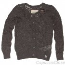 ABERCROMBIE & FITCH WOMENS MEG LACE CARDIGAN SWEATER TOP GREY SZ S SMALL NEW NWT