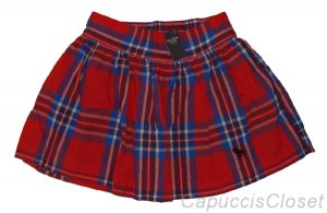 ABERCROMBIE & FITCH WOMENS BAILEY RED NAVY PLAID MINI SKIRT XS X-SMALL NEW NWT