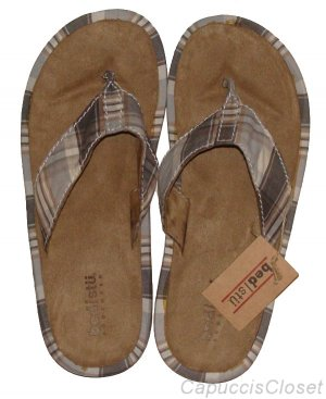 BED STU MENS UPSIDE BLUE PLAID SUEDE FLIP FLOPS SANDALS SHOES SIZE 9 NEW NWT