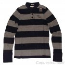 ABERCROMBIE & FITCH BECKHORN TRAIL NAVY GREY STRIPE RUGGED HENLEY SHIRT SZ S NWT
