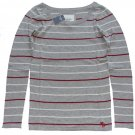 ABERCROMBIE & FITCH WOMENS FIONA GREY STRIPE SCOOPNECK SWEATER TOP SZ L NEW NWT