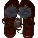 ABERCROMBIE & FITCH ROSETTE EMBELLISHED BROWN LEATHER FLIP FLOPS SANDALS M NWT