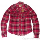 HOLLISTER CALIFORNIA ORANGE COUNTY PINK MULTI PLAID BUTTON DOWN SHIRT M NEW NWT