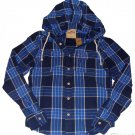 HOLLISTER CALIFORNIA MENS SUMMERLAND BLUE NAVY HOODED PLAID SHIRT HOODIE L NWT