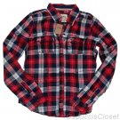 HOLLISTER CALIFORNIA JACK CREEK RED NAVY PLAID BUTTON DOWN SHIRT SIZE M NEW NWT