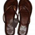 ABERCROMBIE & FITCH WOMENS BROWN SEQUIN LEATHER FLIP FLOPS SANDALS SZ L NEW NWT