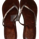 ABERCROMBIE & FITCH WOMENS BROWN SILVER SEQUIN LEATHER FLIP FLOPS SANDALS L NWT