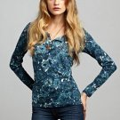 LUCKY BRAND JEANS WOMENS CARLY ROSE NAVY PRINT HENLEY TEE SHIRT TOP XS NEW NWT