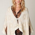 FREE PEOPLE IVORY EMBROIDERED SEQUINED WOOL ANGORA SWEATER CAPE PONCHO M/L NWT