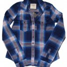 ABERCROMBIE & FITCH WOMENS DAWN PLAID BUTTON DOWN SHIRT TOP NAVY BLUE SZ XS NWT