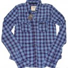 ABERCROMBIE & FITCH WOMENS DAWN PLAID BUTTON DOWN SHIRT TOP BLUE PINK SZ S NWT