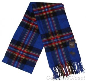 ABERCROMBIE & FITCH MENS BLUE MULTI CLASSIC PLAID FRINGE SCARF NEW NWT $58