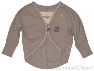 ABERCROMBIE & FITCH WOMENS GREY DOLMAN SLEEVE FLEECE SWEATSHIRT JACKET M NEW NWT
