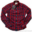 ABERCROMBIE & FITCH BIG SLIDE RED NAVY PLAID BUTTON DOWN OXFORD SHIRT M NEW NWT