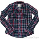 ABERCROMBIE & FITCH WOMENS HAILEY PLAID BUTTON DOWN SHIRT TOP NAVY RED SZ M NWT