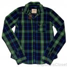 ABERCROMBIE & FITCH WOMENS KIRSTIE PLAID BUTTON DOWN SHIRT NAVY GREEN SZ L NWT