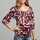 LUCKY BRAND JEANS WOMENS MENA BOHO HIPPIE PRINTED PEASANT SHIRT TOP SZ XS NEW NWT