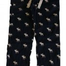 ABERCROMBIE & FITCH ROCKY FALLS NAVY BLUE MOOSE FLANNEL SLEEP PAJAMA PANTS L NWT