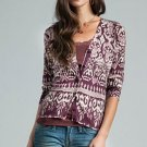 LUCKY BRAND JEANS WOMENS BATIK V-NECK COTTON CARDIGAN SWEATER TOP SZ XS NEW NWT