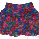 ABERCROMBIE & FITCH WOMENS STACY BLUE FLORAL TIERED RUFFLE MINI SKIRT L NWT
