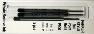 Parker Style Ballpoint Ink Refill Black Broad Point 2 Pack