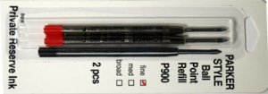 Parker Style Ballpoint Ink Refill Red Fine Point 2 Pack