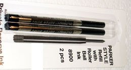 Parker Style Rollerball Ink Refill Black 2 Pack