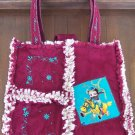 "Ragged Quilted Embroidered ""Boop"" Diaper purse Bag"