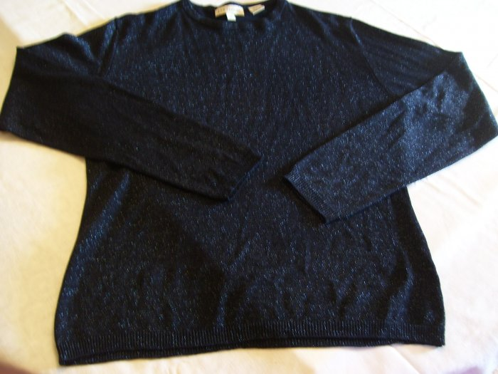Ann Taylor Black W/ Blue Metallic Thread Top Size M