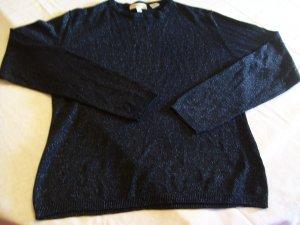 Ann Taylor Black W/ Blue Metallic Thread Top Size M
