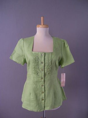 Womens Blouse New Choices Willow Green Linen Top Petite Small