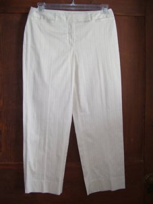 Womens New Rafaella Ivory Black Stripe Ankle Pants 10P