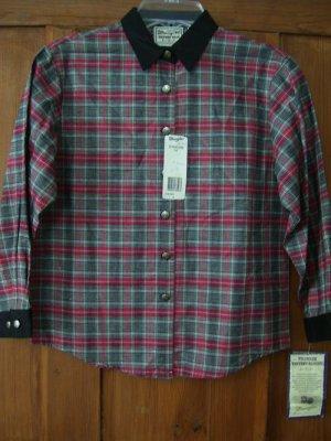 Girls Blouse Wrangler Red Gray Black Plaid Western  Shirt 14