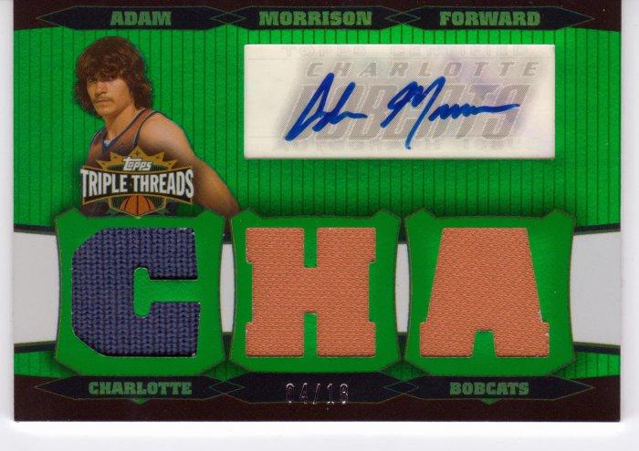 2006 2007 Adam Morrison Triple Threads Auto 4/18 2 Color Rookie RC