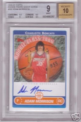 2006 2007 Adam Morrison Topps Rookie Photo Shoot BGS 9.0/10 Auto RC Rookie