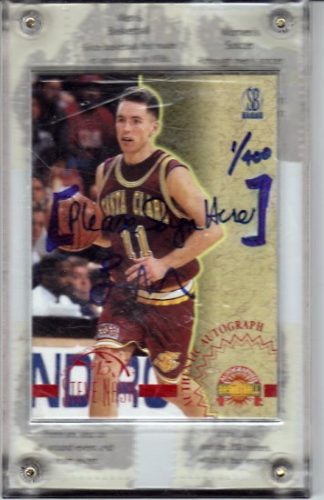 """1996 Steve Nash Skybox Auto 1/400 First Card signed """"Sign Here"""" RC Rookie 1/1"""