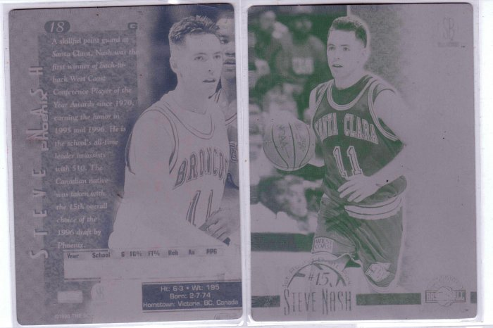 1996 Steve Nash Scoreboard Plates Front and Back - 1/1 - RC Rookie