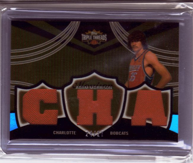 2006 2007 Adam Morrison Triple Threads Auto 24/27 Red Patch Rookie RC