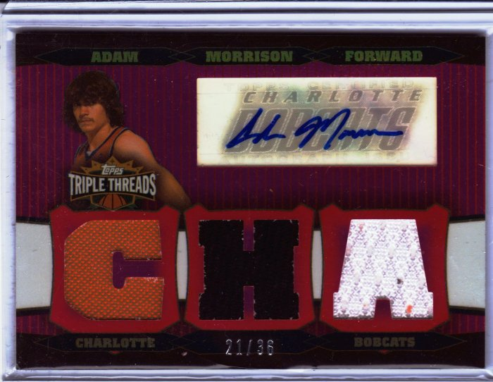 2006 2007 Adam Morrison Triple Threads Auto 21/36 # Red Patches Rookie RC