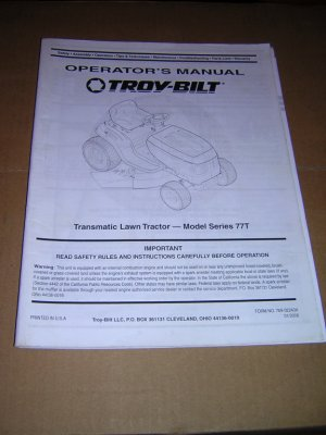 Troy-Bilt Model Series 77T Transmatic Tractor Operators Manual