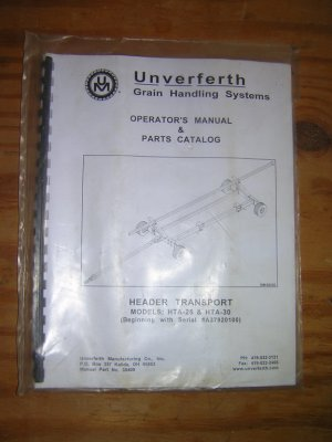 Unverferth Header Transport Operators& Parts Manual