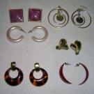 Six Sets of Earring Mixed Lot Pierced Ear, Retro Style, Plastic & Metal