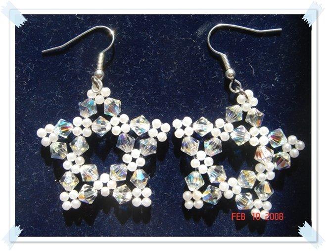 White-Swarovski Crystal Star Earrings