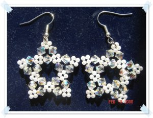 White-Swarovski Crystal Star Earrings