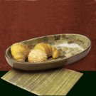 Shastra 15-Inch Inlaid-Stone Oval Bowl, Green Party