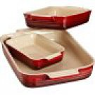 Le Creuset Stoneware Classic Rectangular Dish Set, Cherry, Set of 3