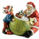 MusicBox Kingdom 53018 Santa and a Child Watch The Train Scene Move on The Globe Music Box