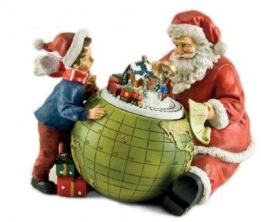 MusicBox Kingdom 53018 Santa and a Child Watch The Train Scene Move on The Globe Music Box