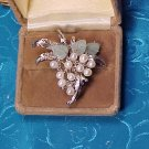 Baroque Genuine Pearl & Jade Grape Pin